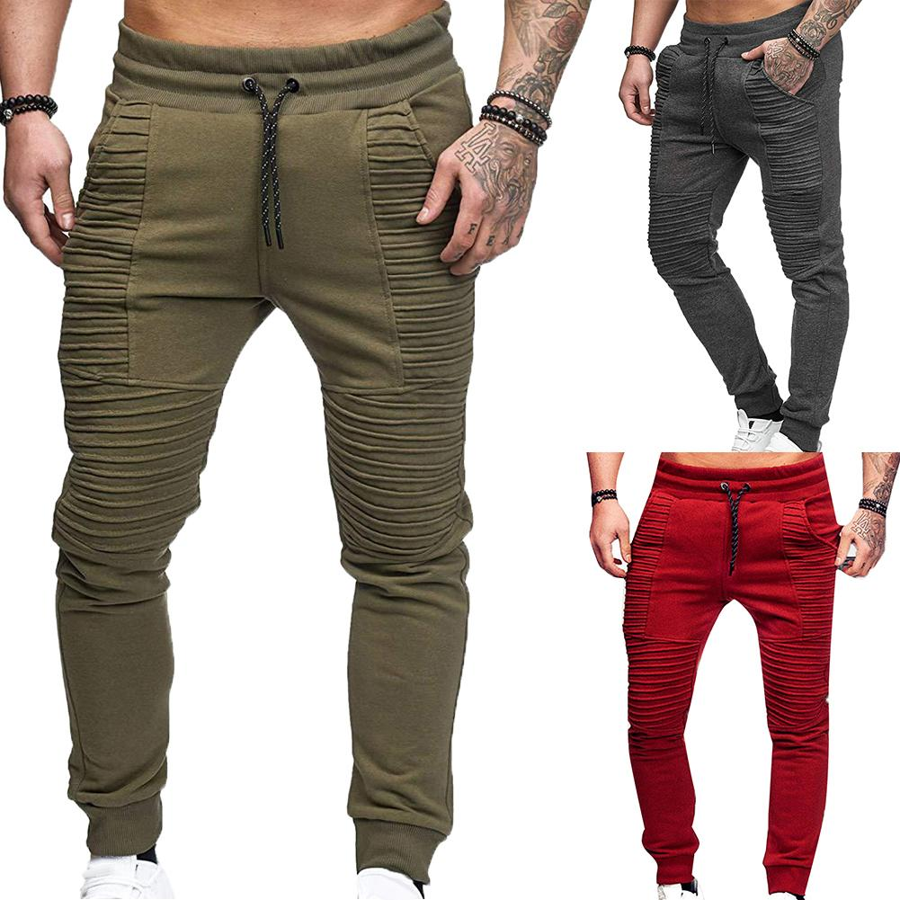 Fashion Men Pants Solid Color Elastic Waist Sport Pleated Pants Trousers Joggers Sports Hip Hop Trousers Pantalones Hombre штаны