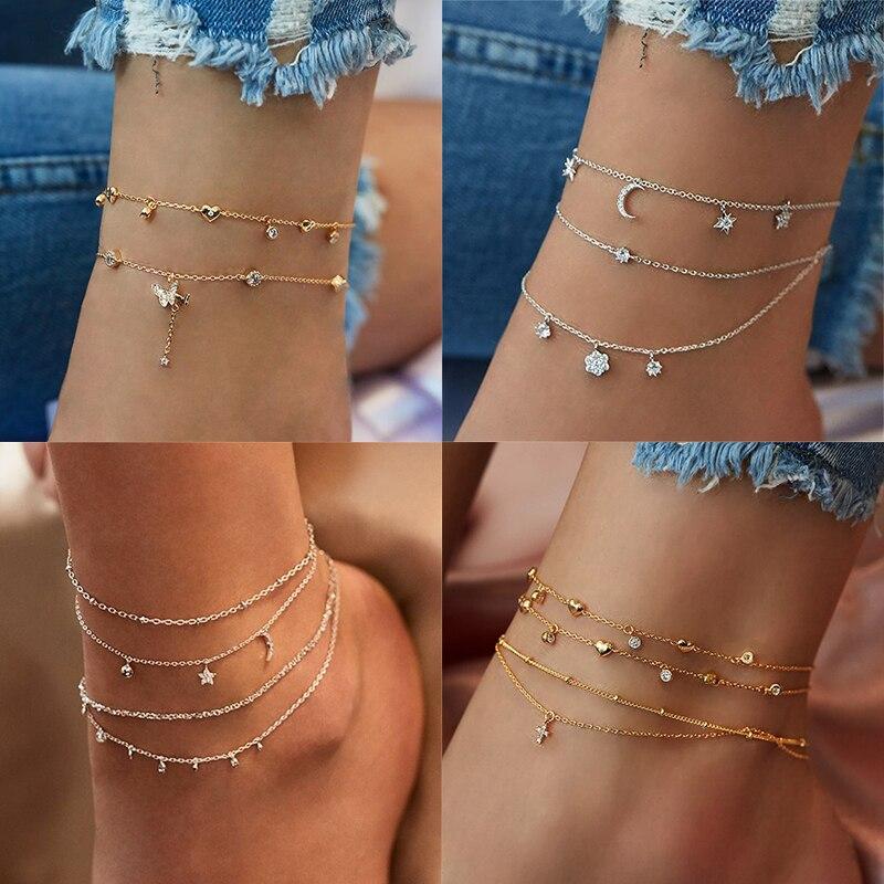 Женский браслет на ногу с бабочкой Boho, многослойный золотой браслет с кристаллами на щиколотке, на цепочке для ног, пляжный аксессуар