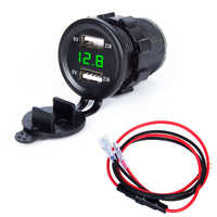 12V/24V Dual USB Car Motorcycle Charger Socket Adapter Outlet LED Voltmeter car motorcycle usb Auto Replacement charger