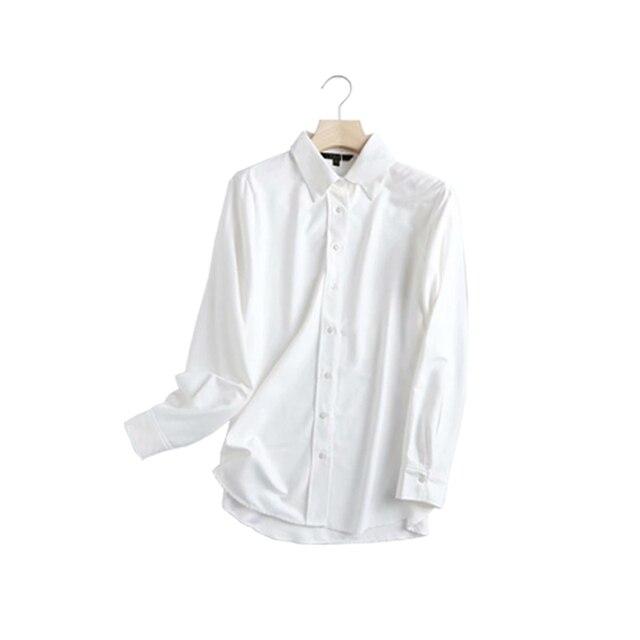 ZA 2020 New Fashion Women Solid color chiffon shirt Turn down Collar Blouses Long Sleeve Chiffon Shirt Casual Loose Tops 3