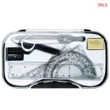 7pcs/set Drawing Tools Math Geometry Protractor Drawing Compass Ruler Triangle Math Study Tool Kit School Supplies