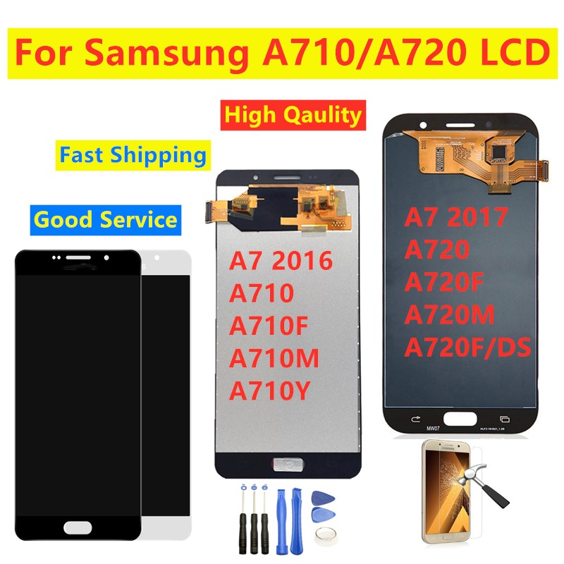 100% Tested For Samsung A7 2017 A720 A720F Display For Samsung Galaxy A7 2016 A710 Lcd Touch Screen Digitizer Assembly Display