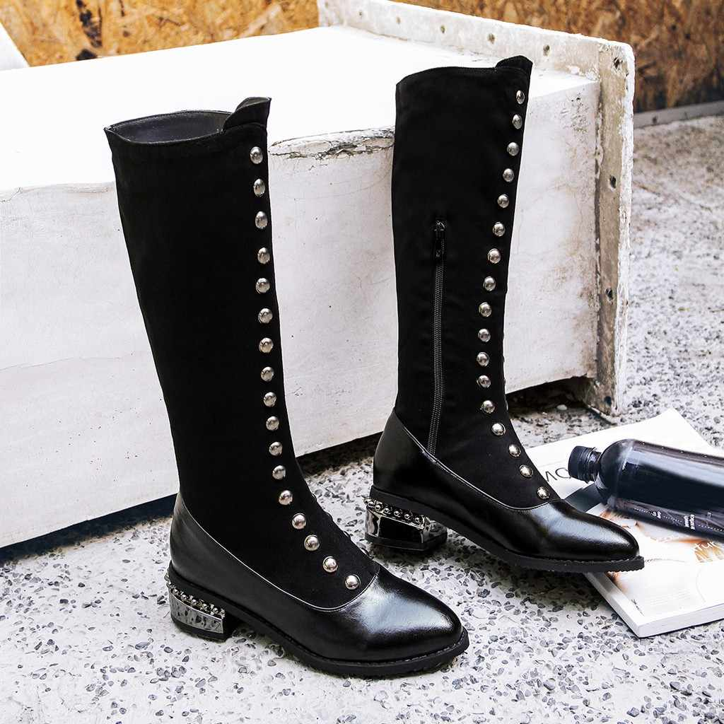 Retro Klinknagels Knie-Hoge Zwarte Lange Laarzen Vrouwen Koele Metalen Decoratie Sokken Laarzen Mode Dikke Puppy Hak Hoge Laarzen botas Mujer