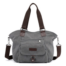 Canvas Lightweight Handbag Retro Casual Ladies Solid Color Cloth Bag Large Capacity Single Shoulder Messenger