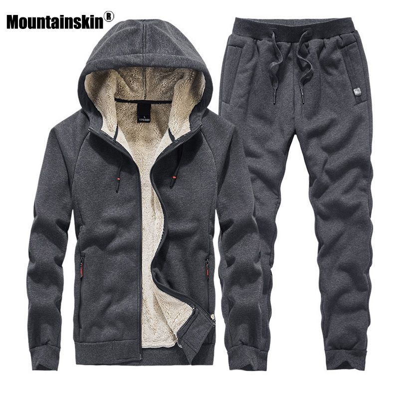 Mountainskin Men's Sweatshirt Suit Autumn Winter Thick Sport Sets Warm Tracksuit 2 Pieces Hoodies Sets Male Brand Clothing SA856