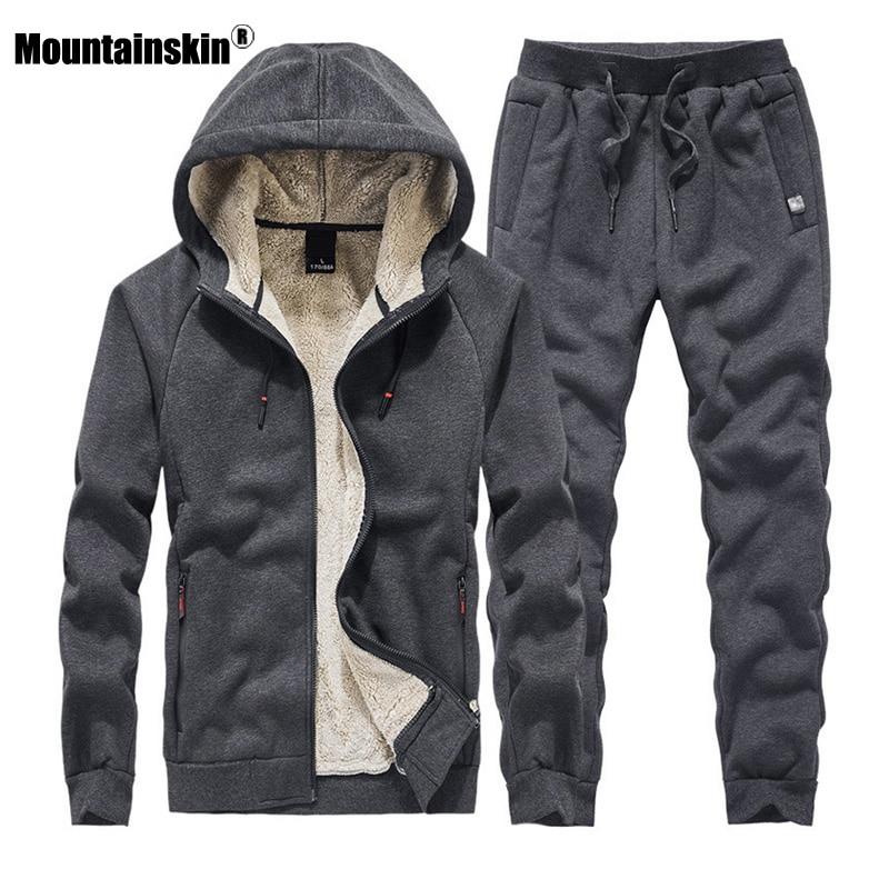 Mountainskin Men's Sweatshirt Suit Autumn Winter Thick Sport Sets Warm Tracksuit 2 Pieces Hoodies Sets Male Brand Clothing SA856