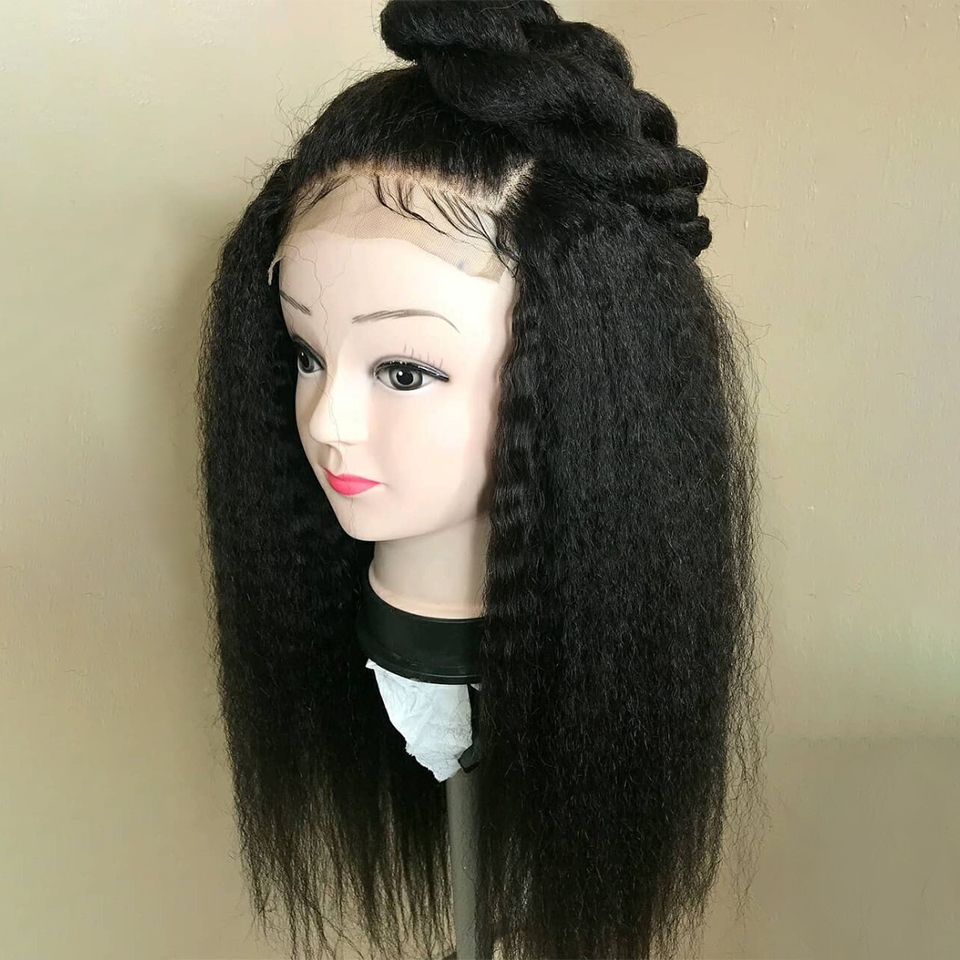 Kinky Straight Wig 13x4 Lace Front Human Hair Wigs For Women Pre Plucked With Baby Hair Brazilian Remy Hair Bleached Knots