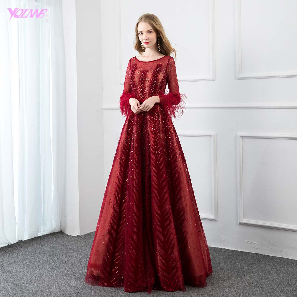 YQLNNE Couture Wine Red Feathers Evening Dress Full Sleeve Velvet Crystal Beaded Formal Women Evening Party Gown Zipper Back