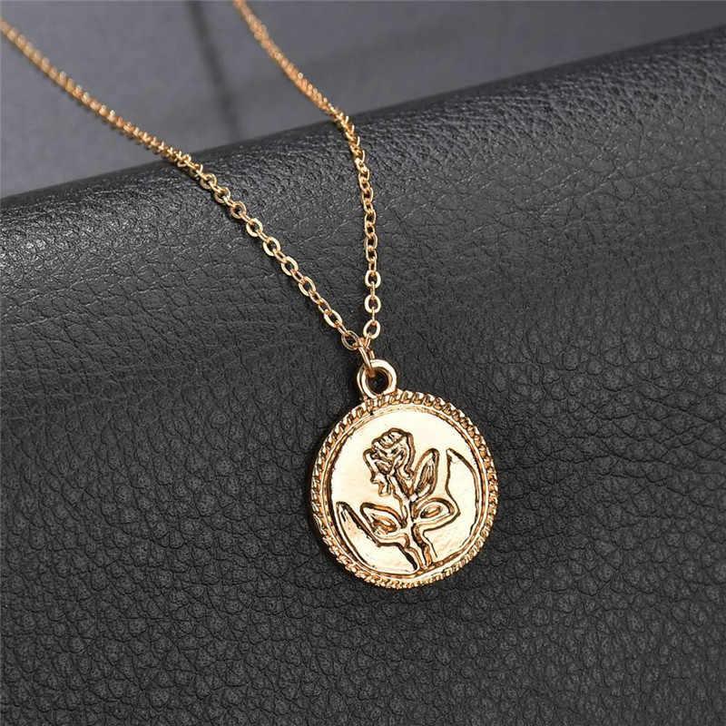 ロマンチックなローズラウンド女性のファッションロングゴールドチェーンネックレスチョーカー珍味チョーカー彫花の宝石の女性