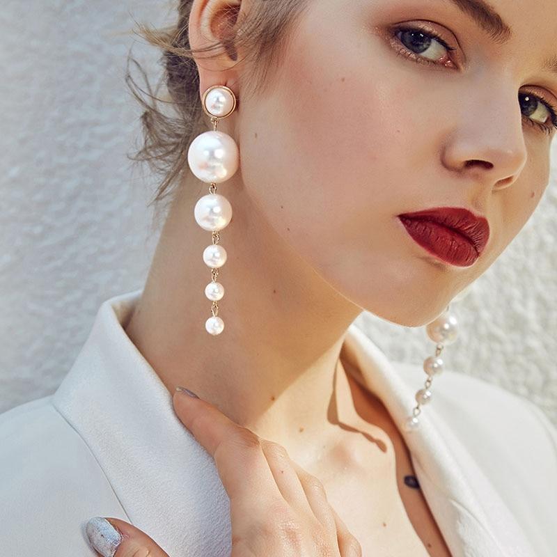 LETAPI Fashion Gold Long Simulated Pearl Earrings For Women Girl Big Geometric Round Drop Earring New Wedding Jewelry