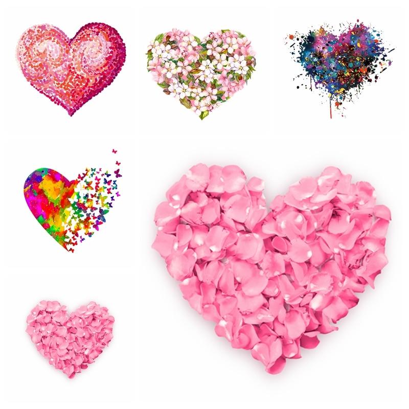 Liebe Herz Patch Mode Blume Eisen Auf Trasnsfers Für Kleidung Hübsche Mädchen Applique Aufkleber DIY Schmetterling Flügel Patch Streifen