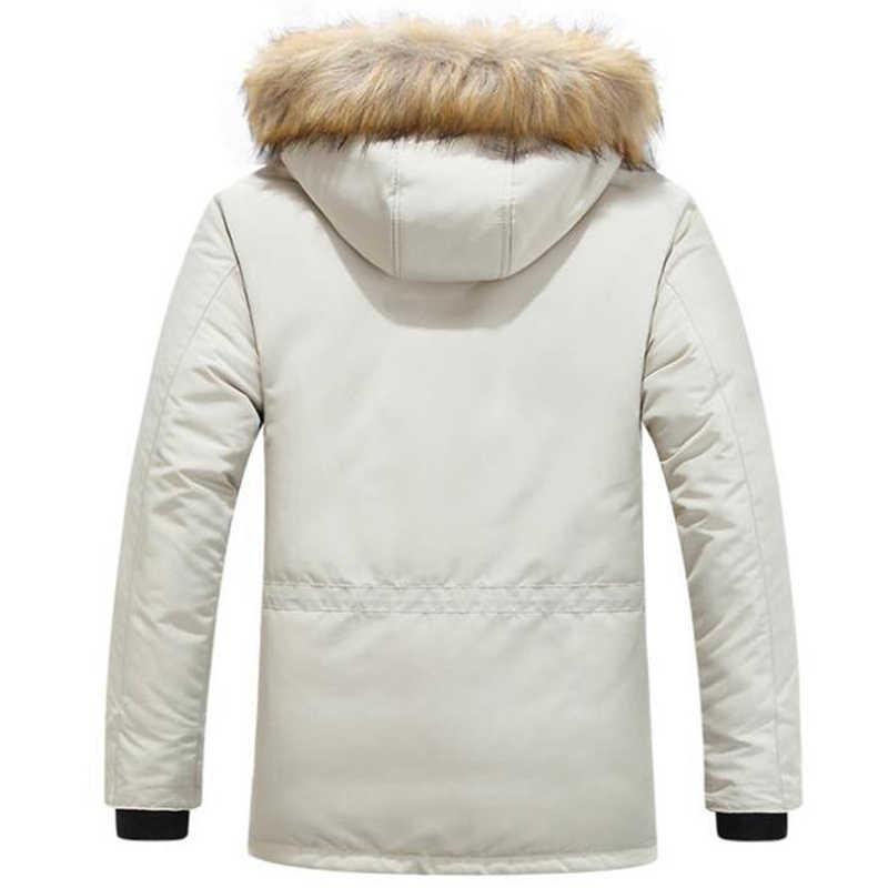 겨울 자 켓 남자 모피 따뜻한 두꺼운 코 튼 멀티 포켓 후드 파커 망 캐주얼 패션 따뜻한 코트 플러스 크기 5xl 6xl 오버 코트