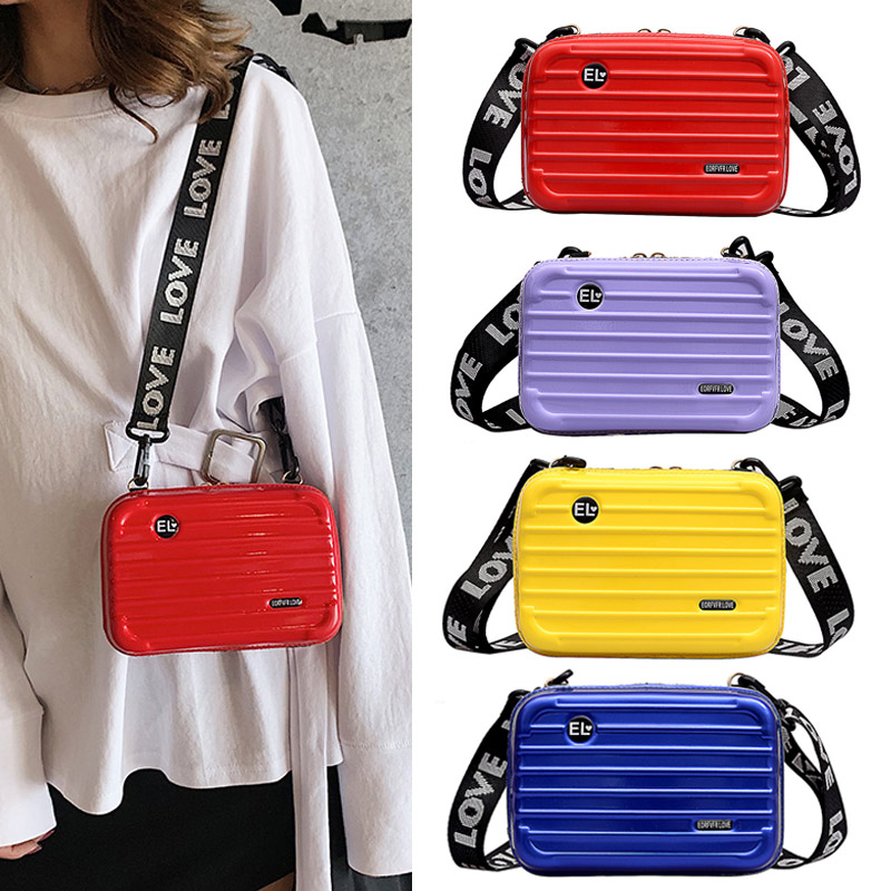2019 Hot Sale Personality Fashion Women Mini Suitcase Shape Crossbody Bag Shoulder Bag with Wide Letter Strap bag Bolsas OH66