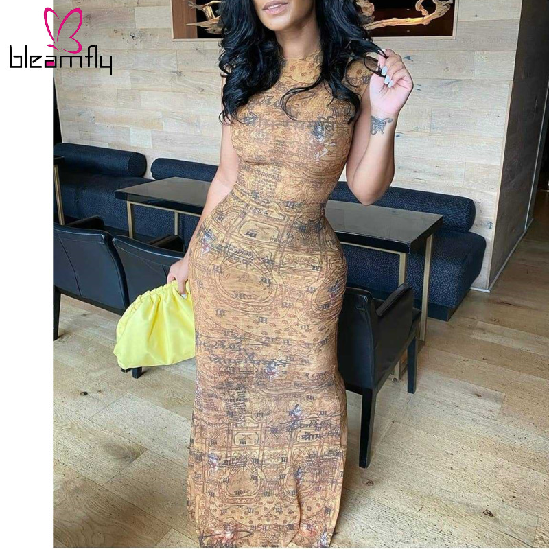 Bodycon Dresses 2020 Sexy Bandage Sleeveless Pencil Vintage Retro Africa Evening Party Long  Dresses Ladies 70s hippie Clothes 1