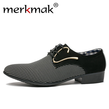 Merkmak Men Leather Shoes Office Men's Dress Suit Shoes Italian Style Wedding Casual Shoes Pointed Toe Business Men Shoes northmarch new brand genuine leather men oxfod shoes lace up casual business wedding shoes men pointed toe comfort shoes