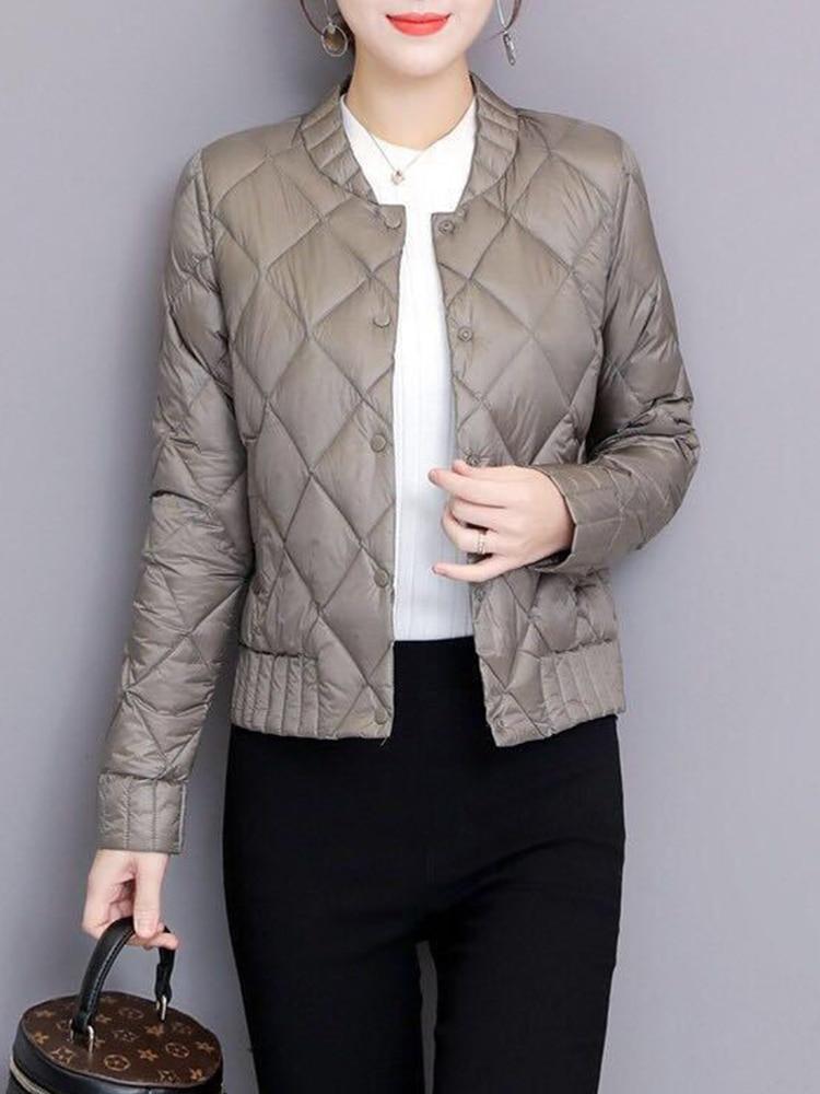 Где купить Осенне-зимняя женская верхняя одежда больших размеров 3XL на пуговицах с длинным рукавом, облегающие короткие теплые пуховые пальто, Ультра Легкая белая куртка на утином пуху