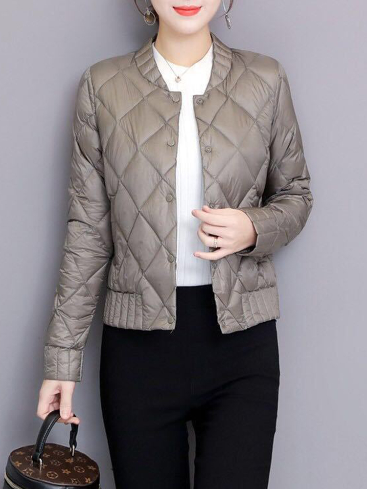 Autumn Winter Women Plus Size 3XL Buttons Outwears Long Sleeve Slim Short Warm Down Coats Ultra Light White Duck Down Jacket