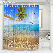 Top Quality Waterproof Fabric Shower Curtains Bathroom Curtain Washable Bath Screen 3D Blue Sea Coconut Tree Dolphin with Hooks