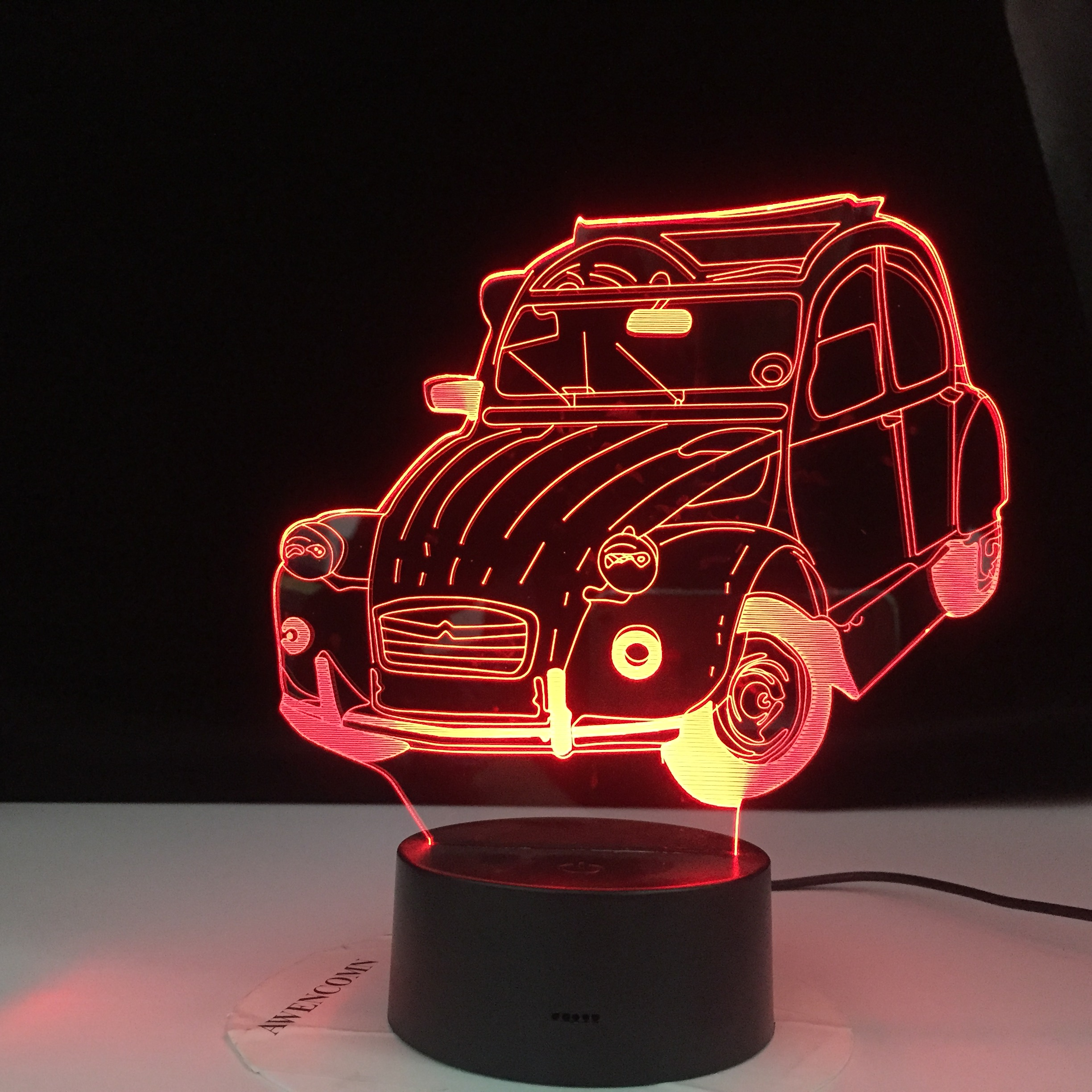 Classic Car Vintage Car Cool 3d Lamp 2cv 3d Illusion Led Night Light For Home Decoration Child Bedroom Adult Office Decor Light