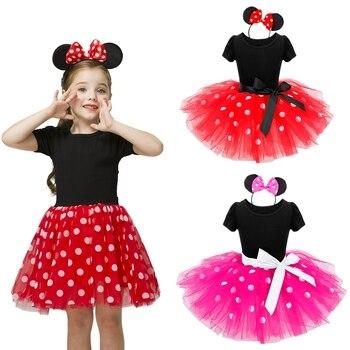 Костюм для девочек, маленькое детское платье-пачка, балетные платья принцессы, наряды в горошек на день рождения, повязка на голову, Детская ...