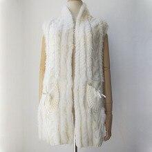 Осенний вязаный женский меховой жилет с натуральным кроликом Повседневная Осенняя Женская жилетка из натурального меха Распродажа по низкой цене