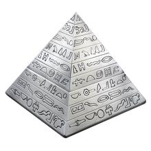 Hot Sale Silver creative fashion decoration classic vintage Egyptian metal carved pyramid with lid ashtray home decoration gift(China)