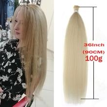 Kinky Straight Hair Synthetic 36Inch Yaki Straight Hair Bundles Blonde Hair Extensions