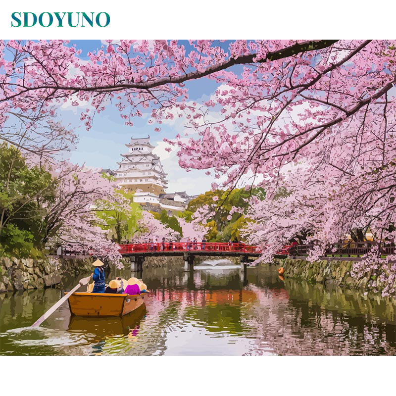 SDOYUNO Acrylic Painting By Numbers Cherry Blossom River Flower 60x75cm Pictures By Numbers For Adults DIY Frameless Home Decor