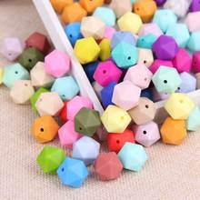 TYRY.HU 100Pcs Icosahedron Silicone Beads 14mm BPA Free Beads Baby Teething Beads For Necklace Baby Teether DIY Pacifier Chain