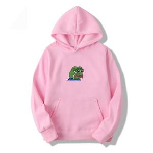 Fashion men's hoodie graffiti print sad frog hoodie sweatshirt men's hip hop fleece new yellow pink men and women hooded suit(China)