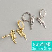 S925 pure silver female joker fold wear ear clip set auger parrot bird-like earrings ring