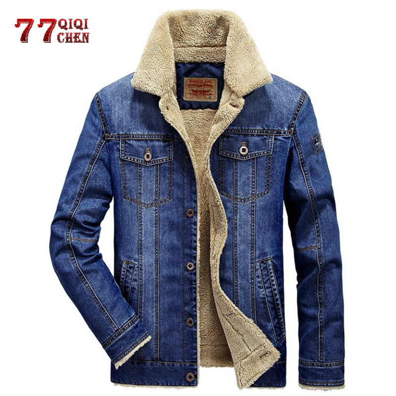 Winter Denim Fleece Jacket Men Warm Parkas Casual Retro Fur Collar Jeans Coat Thick Velvet Cowboy Military Jackets 6XL Overcoat