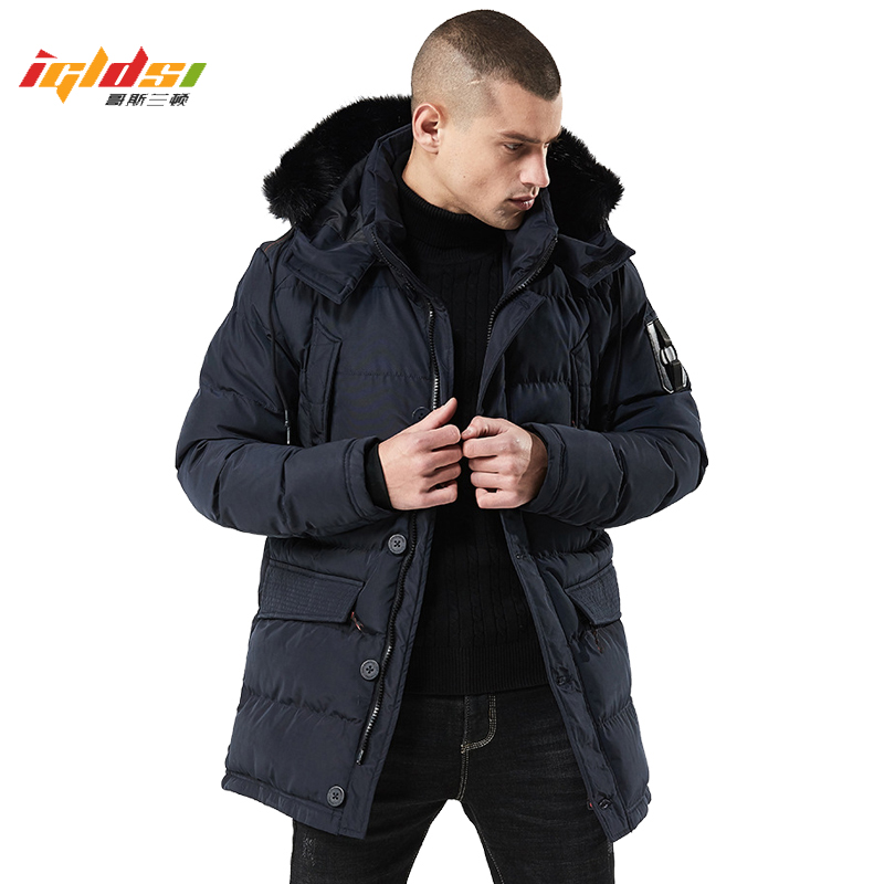 Men Thick Winter Jacket and   Coats   New 2019 Casual Fur Collar Fashion Winter Cotton   Coat   Men Outerwear Warm Slim fit   Down   Parkas