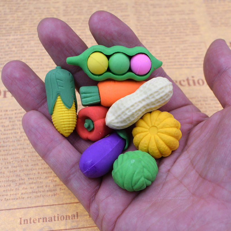 (4 Pieces/Lot) Cute Colored Pencil Rubber Novelty Small Fruit Vegetables Erasers Kawaii Stationery Eraser For School Kids Gifts