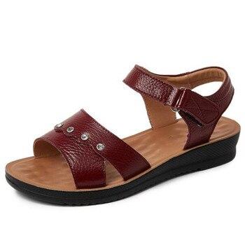 2020 New Summer Women's Sandals Flat Non-slip Comfortable Mother Sandals Rhinestones Genuine Leather Sandals Large Size Sandals