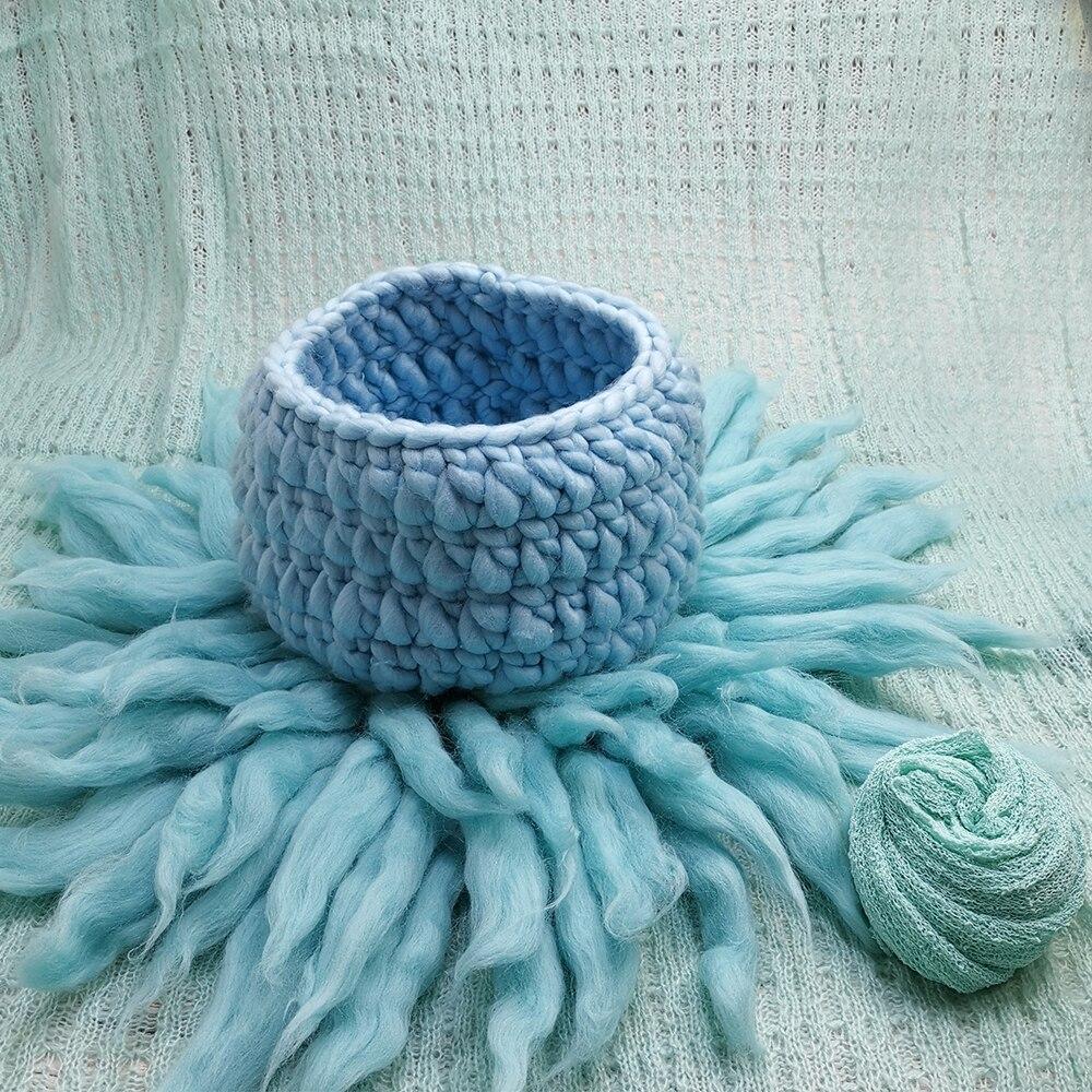 150*100cm Baby Posing Layer Backdrop+Knit Basket+65cm 100% Wool Fluffy blanket+140*30cm Stretch Knit Wrap for Newborn Shooting