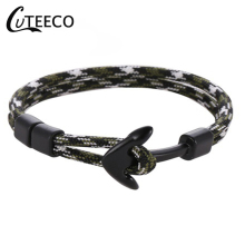 CUTEECO Couple Bracelets Popular Alloy Anchor Bangles Braided Polyester Rope For Women Men Dropshipping