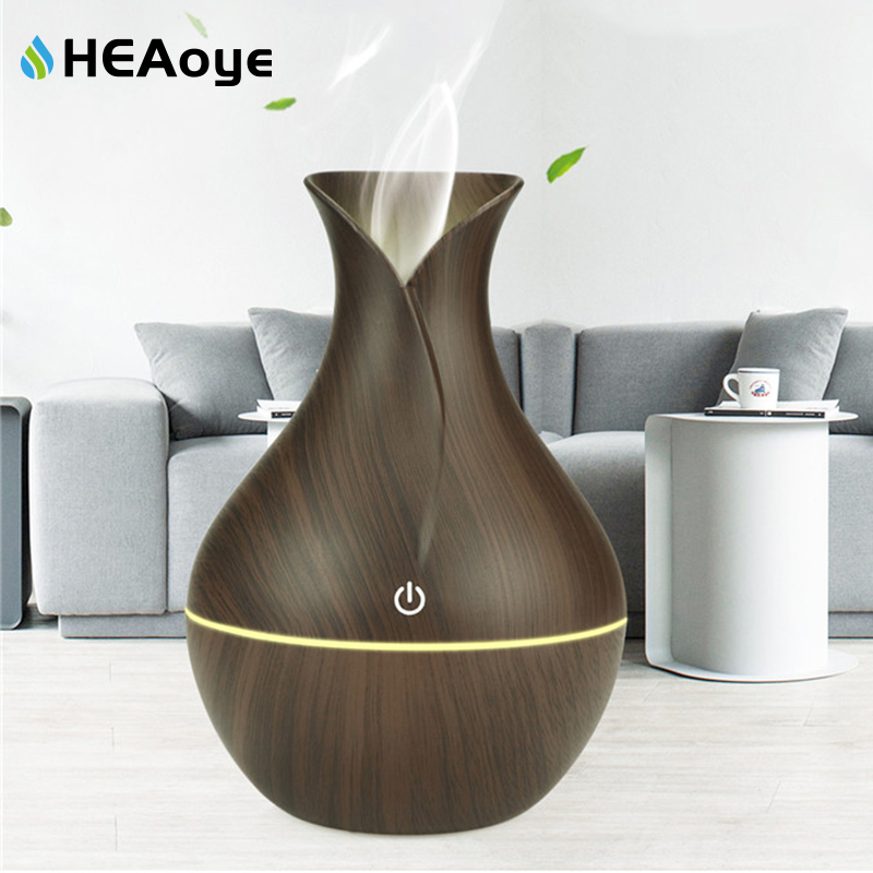 Ballylelly Grano de madera LED Aire Aroma Difusor de aceite esencial Humidificador Aromaterapia Atomizadores Humidificaci/ón de niebla para el hogar