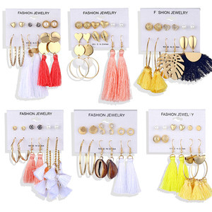 ALIUTOM Boho Tassel Earrings Set Bohemian Long Vintage Geometric Dangle Earrings For Women Brincos Fabric Drop Earring Jewelry