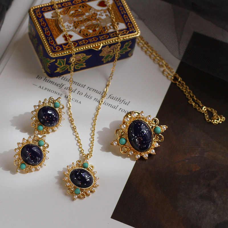 """י""""ב לילה ~ ספיר זהב מראה עתיק בציר סיכת פנינת שרשרת, 925 כסף עגילי אוזן קליפ חליפות נקבה"""