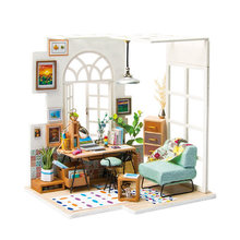 Robotime-casa de muñecas en miniatura para niños, juguete de casa de muñecas de madera, accesorios para niñas, regalos SOHO Time DGM01