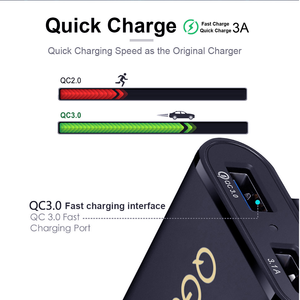 QGEEM 4 USB QC 3 0 Car Charger Quick Charge 3 0 Phone Car Fast Front