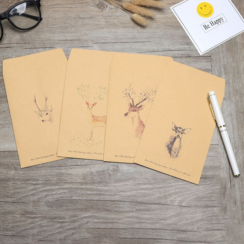 10Sheets/Pack Hot Sale Vintage Deer Animal Paper Envelope Scrapbooking Envelopes Small Envelopes Kawaii Stationery Gift