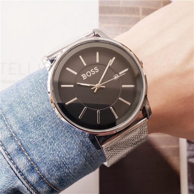 Luxury Men Watches High Quality Boss Stainless Steel Mesh Strap Brand Quartz Watch Auto Date Waterproof Designer Fashion