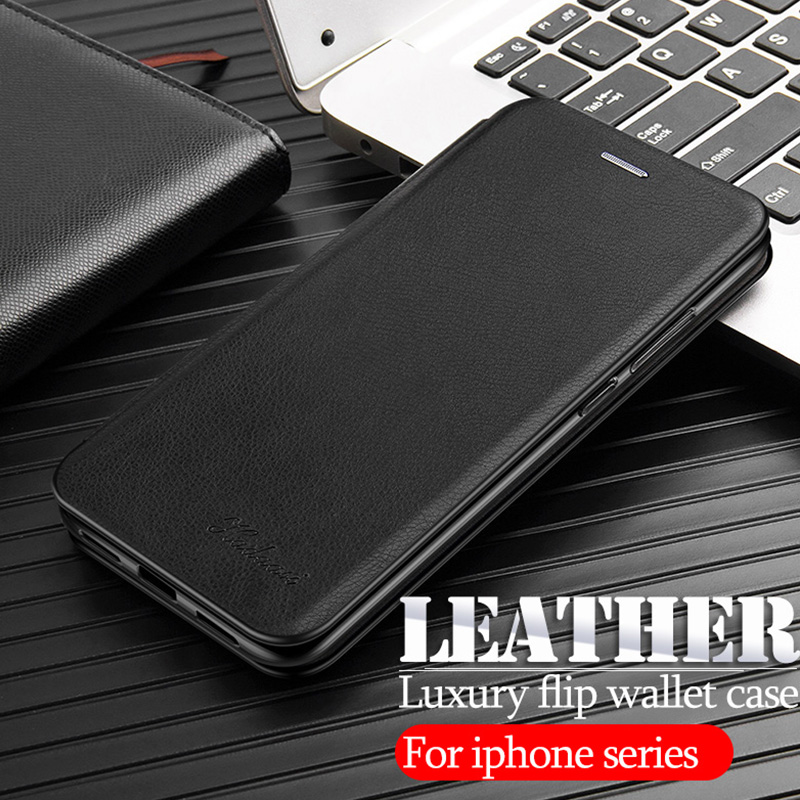 <font><b>leather</b></font> stand case For <font><b>iphone</b></font> 11 pro 2019 x xs max xr flip wallet <font><b>cover</b></font> cases on the For <font><b>iphone</b></font> <font><b>6</b></font> 7 8 plus phone coque fundas image