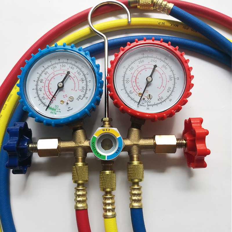 Auto Manifold Gauge Set R134A Refrigerant Charging Hose with 2 Quick Coupler For R134A Air conditioning Refrigeration