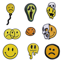 Enamel Pin Happy Unhappy emoji Balloon Avocado Brooches Bag Clothes Lapel Badge Punk Funny Jewelry Gift for Friends