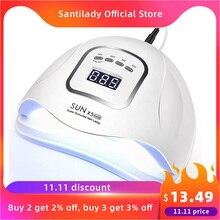 УФ светодиодная лампа для сушки ногтей SUN5 Pro, УФ лампа для маникюра для всех типов гель лака, 80 Вт/72 Вт, 45 светодиодов, инфракрасные сенсоры