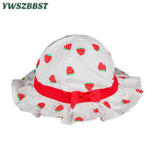 Summer Children Hat with Bow-knot Strawberry Print Girls Sun Hat Kids Fisherman Cap Sunscreen Baby Girl Beach Hat girls baby girl palm print swimsuit with hat