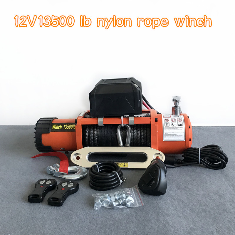 Winch Car 12v 13500lb Electric Winch Heavy Duty ATV Trailer High Tensile Nylon Rope Cable Remote Control Set Electric Winch